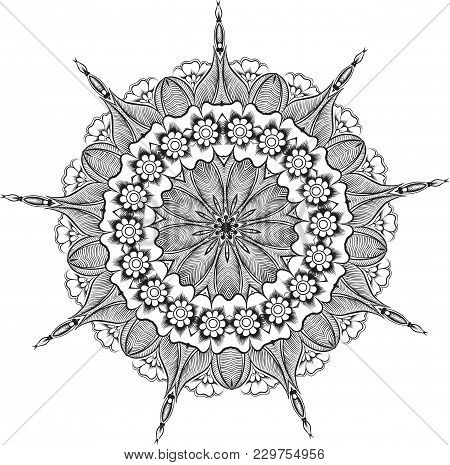 Abstract Vector With Floral Round Lace Mandala, Decorative Element In Ethnic Tribal Style, Black Lin