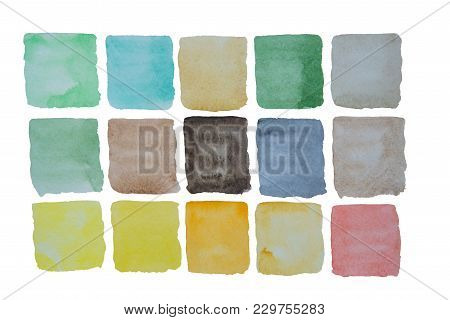 A Palette Of Bright Watercolor Colorful Colors In Squares On A White Background