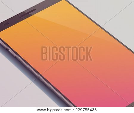 Modern Touch Screen Smartphone Concept With Beautiful Orange Touchscreen Display With Shadow On The