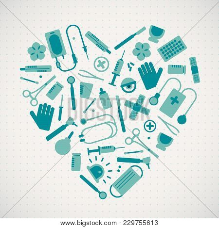 Medical Equipment And Treatment Concept In Heart Shape In Flat Style Vector Illustration