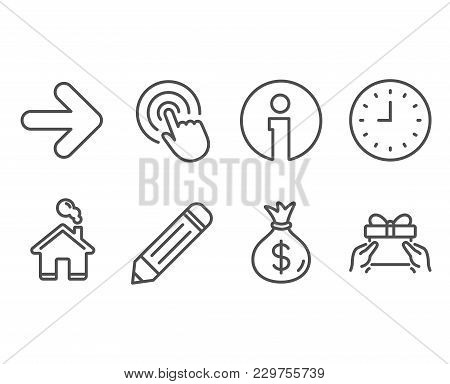 Set Of Pencil, Click And Clock Icons. Money Bag, Next And Give Present Signs. Edit Data, Cursor Poin