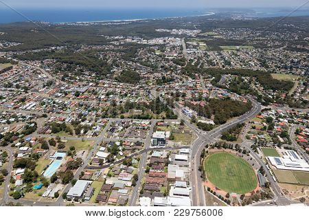Aerial View Of Residential Areas Of Newcastle And Lake Macquarie. Charlestown Whitebridge And Gatesh