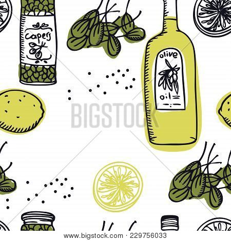 Food Collection Olive Oil And Capers Seamless Pattern Set