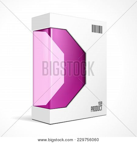 Modern Software Product Package Box With Pink Violet Purple Magenta Window For Dvd Or Cd Disk. Mocku