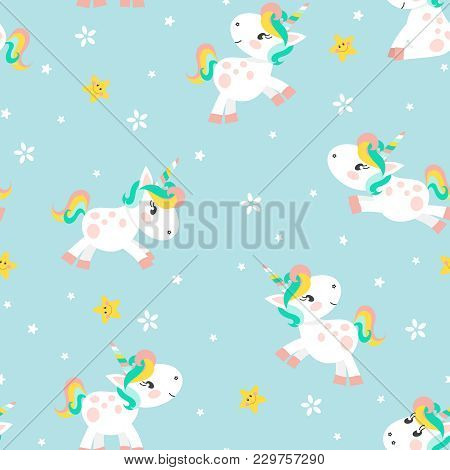 Vector Seamless Pattern For Kids. Magic Miracle Background With Funny Unicorns, Stars And Flowers. V