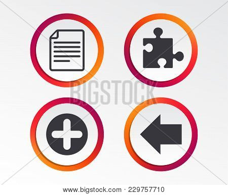 Plus Add Circle And Puzzle Piece Icons. Document File And Back Arrow Sign Symbols. Infographic Desig
