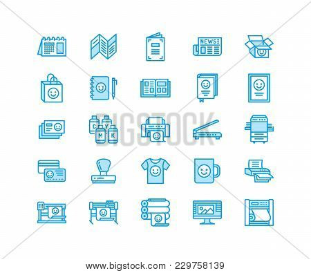 Printing House Flat Line Icons. Print Shop Equipment - Printer, Scanner, Offset Machine, Plotter, Br