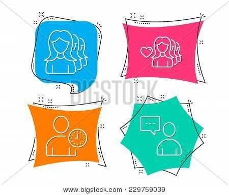 Set Of Woman Love, Time Management And Women Headhunting Icons. Users Chat Sign. Romantic People, Us