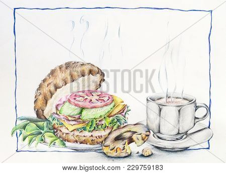 Coffee Cup Theme Illustration With A Burger And A Doughnut. A Beautiful Classic Theme For Background