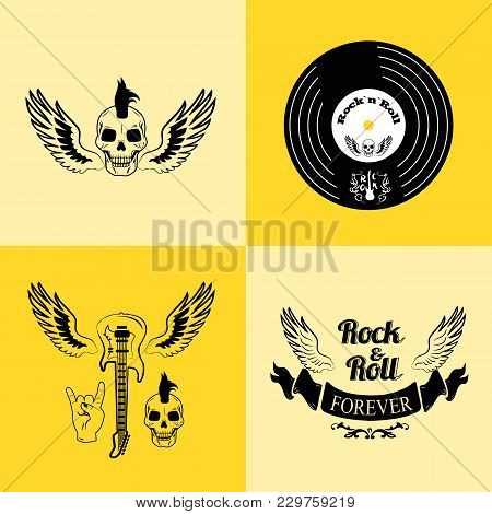 Rock N Roll Forever, Icons Of Skull With Punk Hairstyle, Vinyl, Guitar With Wings, Ribbon And Gestur
