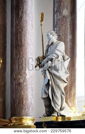 AMORBACH, GERMANY - JULY 08: Saint Joachim statue on the main altar in Amorbach Benedictine monastery church in Lower Franconia, Bavaria, Germany on July 08, 2017.