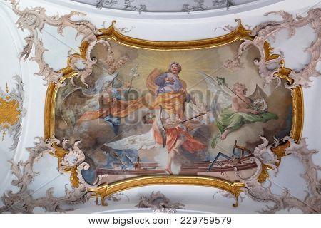 AMORBACH, GERMANY - JULY 08: Saint Joseph, fresco by Matthaus Gunther in Benedictine monastery church in Amorbach, Germany on July 08, 2017.