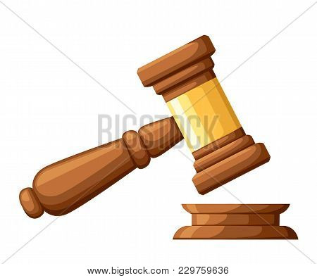 Judge Wood Hammer. Gavel In Cartoon Style. Ceremonial Mallet For Auction, Judgment. Vector Illustrat