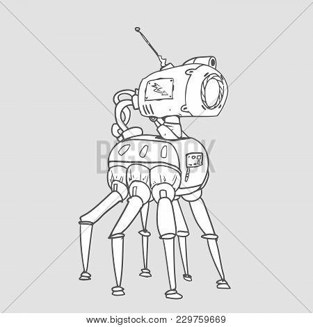 Bionic Six-legged Robot With A Camera In His Head. Vector Illustration, Isolated On White Background