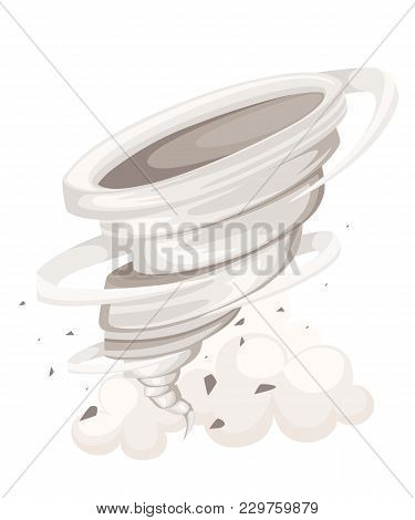 Tornado Swirl. Wind Ripping Through The Area. Tornado In Cartoon Style. Cataclysm Color Icon. Vector