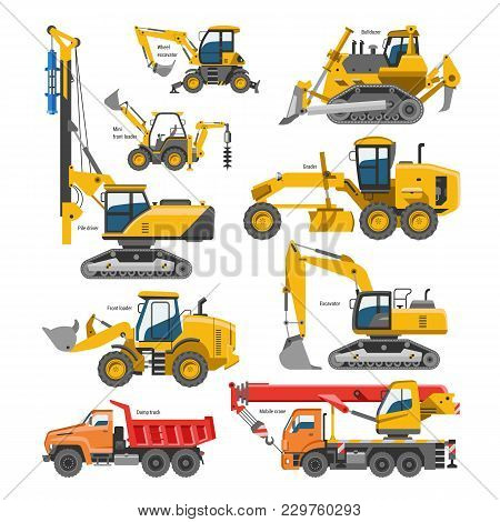 Excavator For Construction Vector Digger Or Bulldozer Excavating With Shovel And Excavation Machiner
