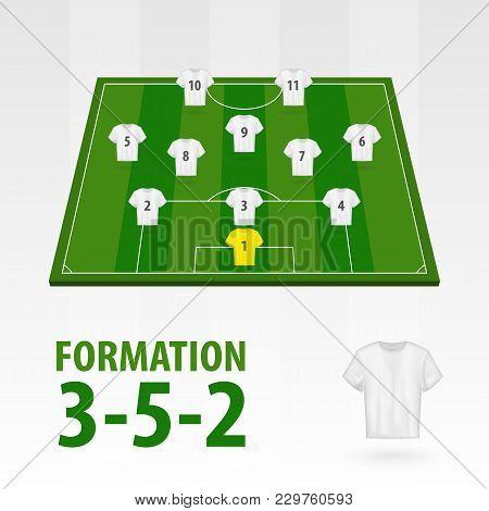 Football Players Lineups, Formation 3-5-2. Soccer Half Stadium.