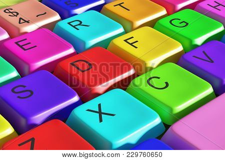 3d Rendering Of A Colorful Computer Keyboard. Concept Of Diversity