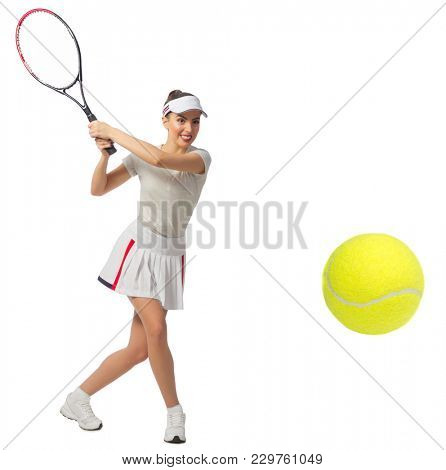 Young woman tennis player (with ball version)