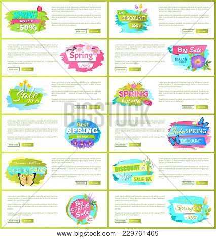 Best Spring Big Sale Advertisement Labels Crocus Lilac Purple Flowers With Daffodils And Butterflies