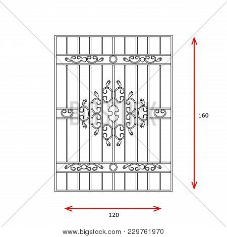 Windows Lattice Gate Vector Line Simple Ilustration.