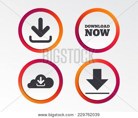 Download Now Icon. Upload From Cloud Symbols. Receive Data From A Remote Storage Signs. Infographic