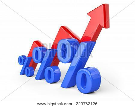 Graph, Diagram, Blue Percent Signs. Business Concept Of Success Of Development. 3d Illustration Isol