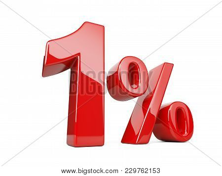 One Red Percent Symbol. 1% Percentage Rate. Special Offer Discount. 3d Illustration Isolated Over Wh