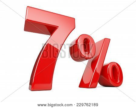 Seven Red Percent Symbol. 7% Percentage Rate. Special Offer Discount. 3d Illustration Isolated Over
