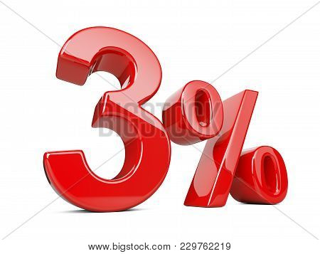 Three Red Percent Symbol. 3% Percentage Rate. Special Offer Discount. 3d Illustration Isolated Over