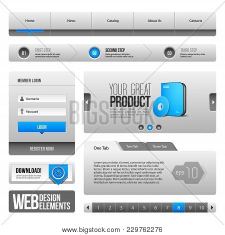 Web Ui Controls Elements Gray And Blue On White Background: , Search, Scroll, Download, Pagination,