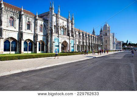 Lisbon, Portugal - September 13 . 2017 . The Landmark Mosteiro Dos Jeronimos In The Belem District I