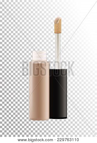 Mock Up Of Realistic Concealer Makeup Open Bottle With Tassel. Package Of Face Skin Corrective Cosme