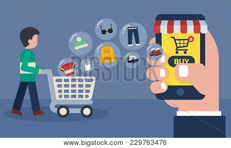 Mobile Online Store Concept . Shopping Online With Goods Icons Transfer. Man And Cart At Supermarket