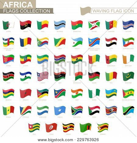 Waving Flag Icon, Flags Of Africa Countries Sorted Alphabetically. Vector Illustration.