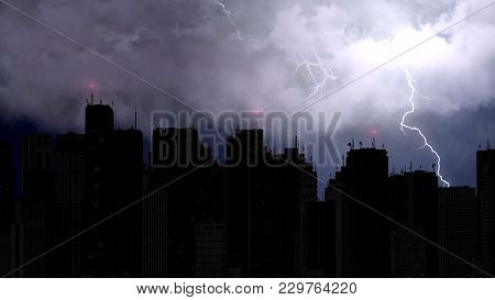 Stunning View Of Lightning Bolts Strike Above City Skyscrapers At Night Time, Stock Footage