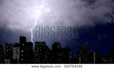 Lightning Strikes Above Skyscrapers, Dramatic Thunder Clashes, Bad Weather, Stock Footage