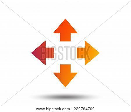 Fullscreen Sign Icon. Arrows Symbol. Icon For App. Blurred Gradient Design Element. Vivid Graphic Fl