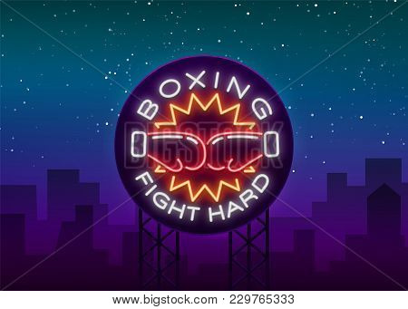 Boxing Logo, Neon Sign Emblem Is Isolated. Vector Illustration On Sport, Boxing. The Sign Is Lit, Th