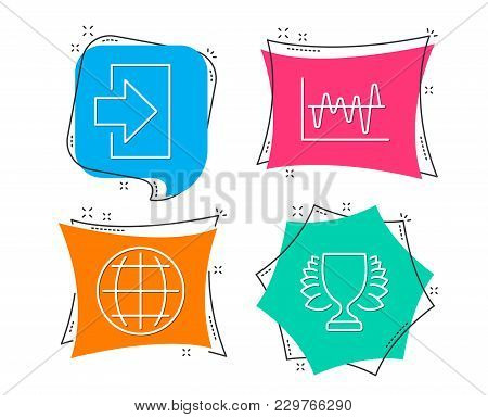 Set Of Stock Analysis, Globe And Login Icons. Winner Sign. Business Trade, Internet World, Sign In.