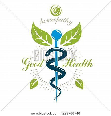 Caduceus Vector Conceptual Emblem Created With Snakes And Green Leaves. Wellness And Harmony Metapho