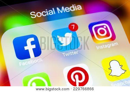 Sankt-petersburg, Russia, March 6, 2018: Apple Iphone X With Icons Of Social Media Facebook, Instagr