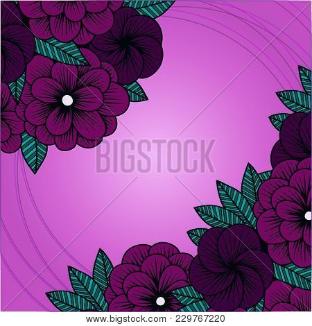 Vector Floral Greeting Card With Burgundy Hydrangeas