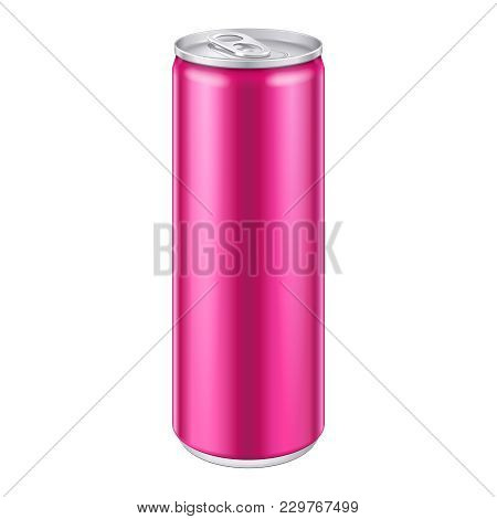 Pink Violet Metal Aluminum Beverage Drink Can. Ready For Your Design. Product Packing Vector Eps10