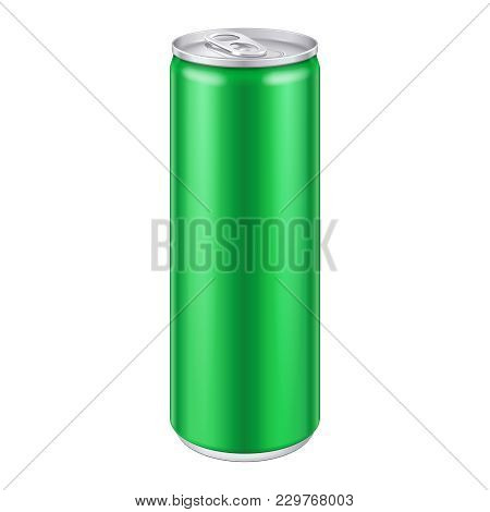 Green Metal Aluminum Beverage Drink Can. Ready For Your Design. Product Packing Eps 10