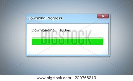 Successful Download Process, Dialog Box With Green Status Bar, Outdated Software, Stock Footage