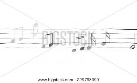 Silhouettes Of Music Notes On Sheet, Composing App, Karaoke, White Background, Stock Footage
