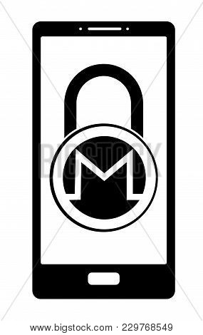 Electronic Security Lock Of Monero In A Phone ,vector Icon, Black And White Concept , Vector Disign.