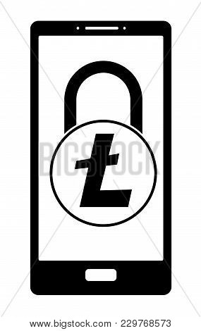 Electronic Security Lock Of Litecoin In A Phone ,vector Icon, Black And White Concept , Vector Disig