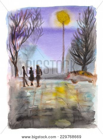Hand Painted Illustration. Urban Landscape With Sevening Street, Car And People Silhouettes. Waterco